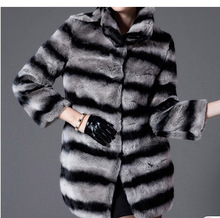 2017 Hot Sale Women Natural Whole Skin Rex Rabbit Fur Coat Chinchilla color jacket Genuine Fur Ourwear fashion overcoat CW2729