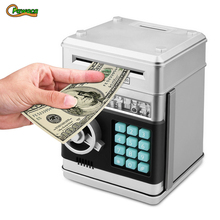 Electronic Piggy Bank ATM Password Money Box Cash Coins Saving Box ATM Bank Safe Box Automatic Deposit Banknote Christmas Gift цена