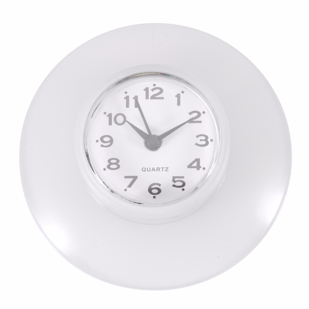 Silicone Bathroom Kitchen Shower Suction Wall Clock Multicolor Water ...