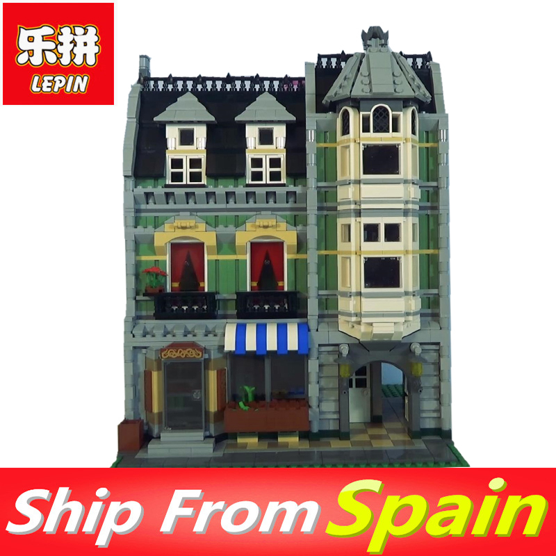 Lepin 15008 2462pcs Blocks City Street Green Grocer Model Building Bricks Compatibel Legoed 10185 Toys Gift for Kids dhl lepin15008 2462pcs city street green grocer model building kits blocks bricks compatible educational toy 10185 children gift