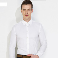 Comfortable Business Shirt Solid Color Men Long Sleeve Shirt Tailor Made Groomsman Prom Dinner Dress Shirt