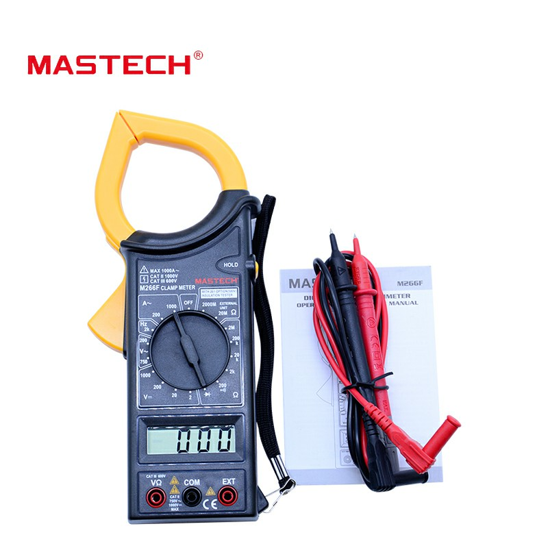 MASTECH M266F Digital AC Clamp Meter AC Current Resistance Tester Detector with Diode Wholesales tm 1005 digital ac clamp meter ac transducer with aca output 1 400mv tm1005