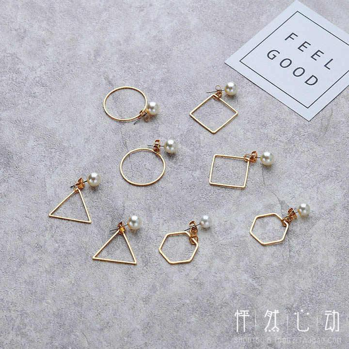 Orecchini per le donne orecchini di Perle di Moda e contratta Retro geometrica circolare orecchini del triangolo Hexagon orecchini dei monili