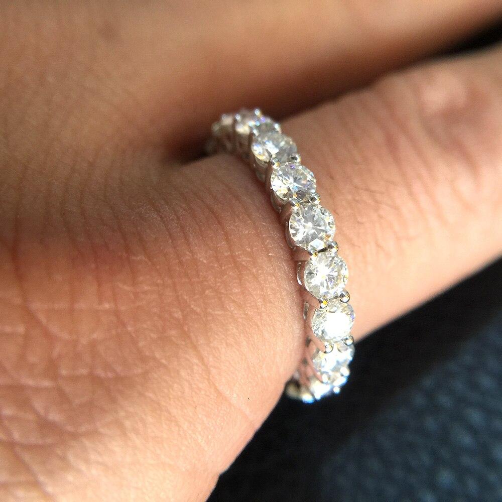Твердое 14 к белое золото покрытое серебром 5 мм 4 мм 3 мм F цвет Муассанит Вечность Обручальное кольцо Муассанит кольцо для женщин дамское кол... - 2