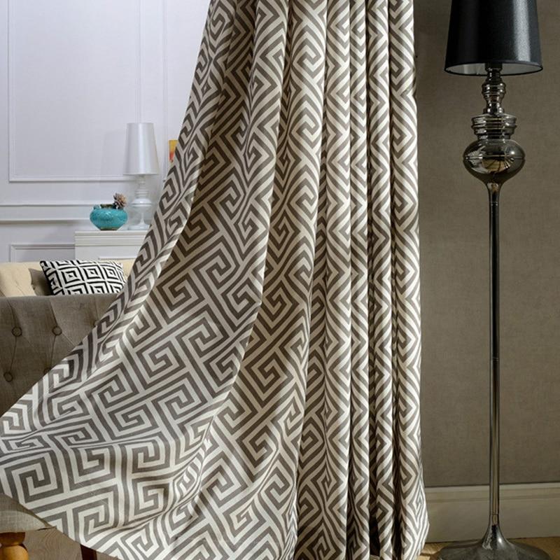 Elegante poliéster Mezcla de algodón Geométrica Cortina semi blackout para sala de estar Dormitorio Ventana decorativa Cortinas de puerta francesa