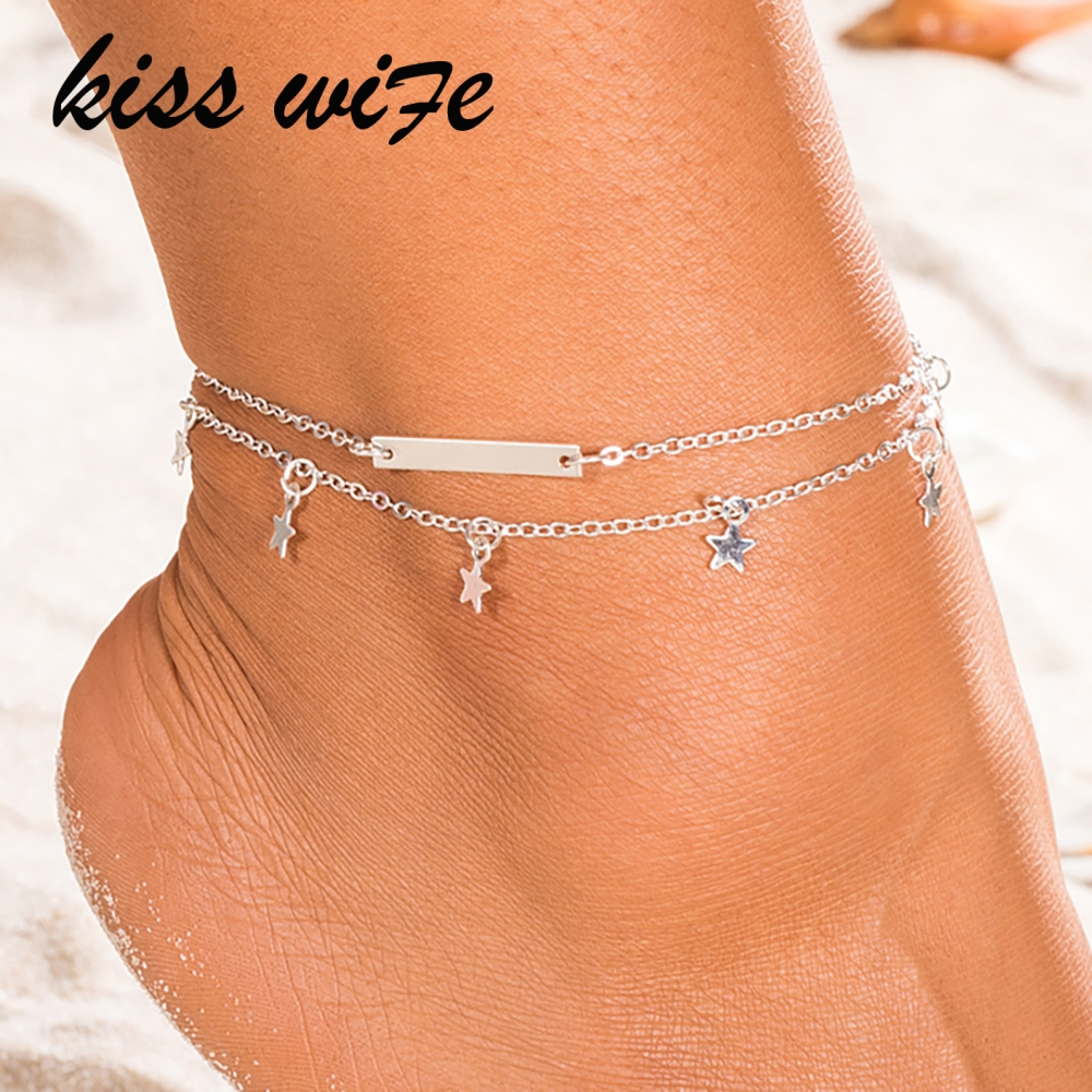 KISSWIFE Hot Jewelry Anklets for Women Foot Accessories Summer Beach Barefoot Sandals Bracelet Ankle on The Leg Female Ankle St
