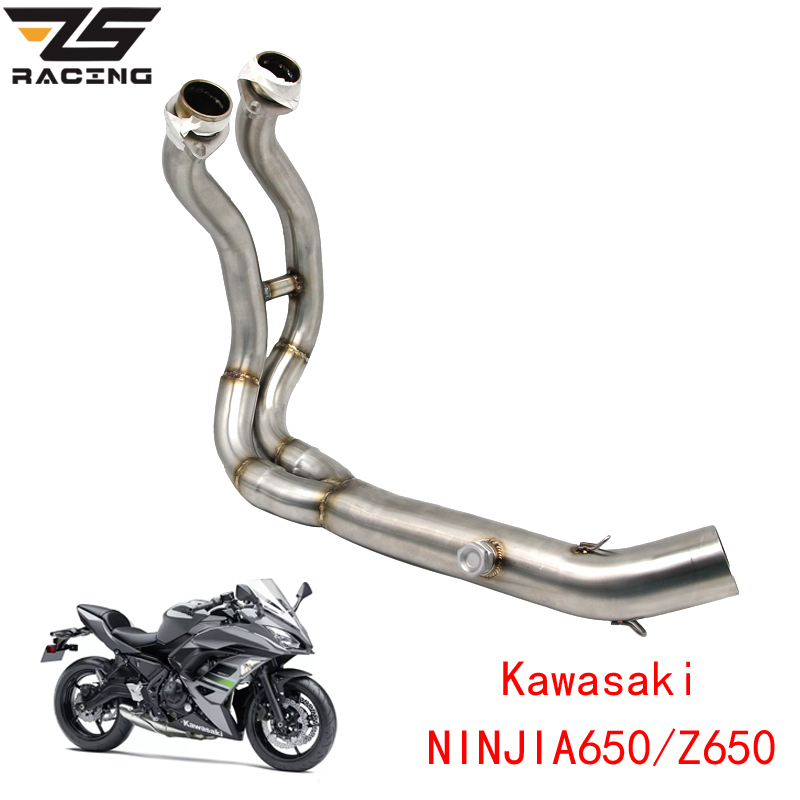 ZS Racing Motorcycle Exhaust Middle Pipe Full System For Kawasaki NINJIA650 Z650 2018 With Sensor цена