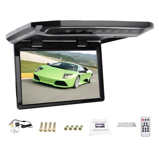 Nueva Venta Caliente HD 10.2 pulgadas HDMI SD FM Del Coche 1080 P Coche Techo de montaje/baje/Techo Del Coche Ancho/Over head/Desplegable LCD Monitor pantalla