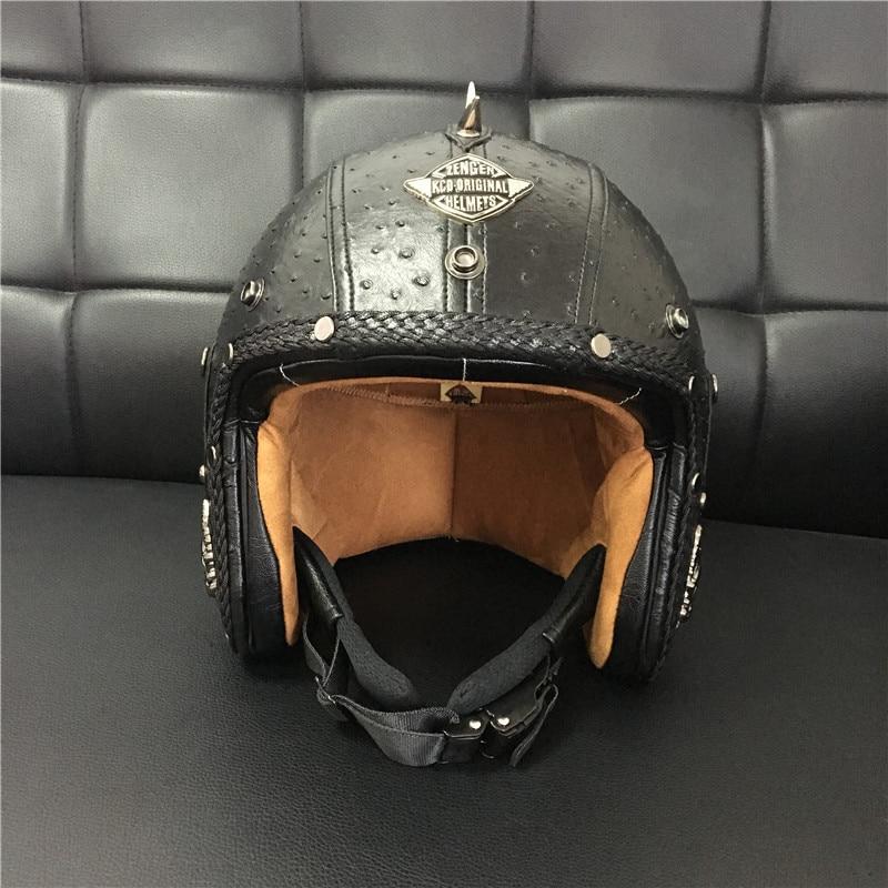 DOT Open Face Half Leather Helmet Moto Motorcycle Helmets vintage Motorbike Headguard Casque Casco For helmet