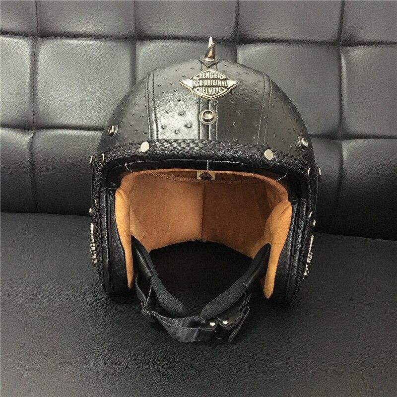DOT Open Face Half Leather Helmet Moto Motorcycle Helmets vintage Motorbike Headguard Casque Casco For Harley helmet