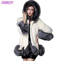 Plus size 6XL Autumn winter for women's Faux Fur jackets coats Mink suede fox fur Outerwear Slim Hooded fur coats IOQRCJV Q003