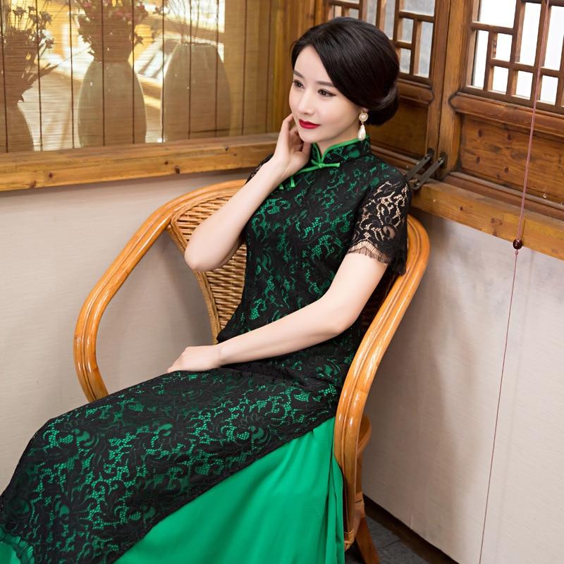 Autumn new style slim dress lace cheongsam China Korea Japan Thailand ladies national Style Kimono Mandarin Collar Formal Qipao in Cheongsams from Novelty Special Use