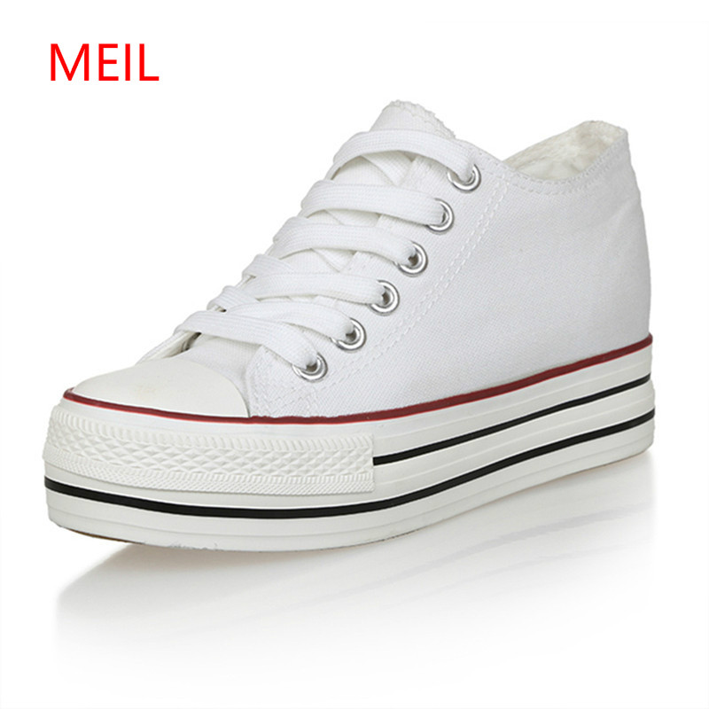 6cm Women Sneakers Thick Bottom Denim Wedge Female Canvas Shoes For Women Sneakers Platform Beatherable Woman Casual Shoes White beffery summer shoes women genuine leather fashion casual white woman shoes platform thick bottom shoes woman sneakers