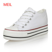 Купить с кэшбэком 6cm Women Sneakers Thick Bottom Denim Wedge Female Canvas Shoes For Women Sneakers Platform Beatherable Woman Casual Shoes White