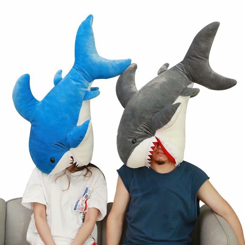 Candice guo peluche peluche poupée dessin animé animal poisson requin oreiller coussin main chaud drôle tête chapeau cadeau d'anniversaire présent 1 pc