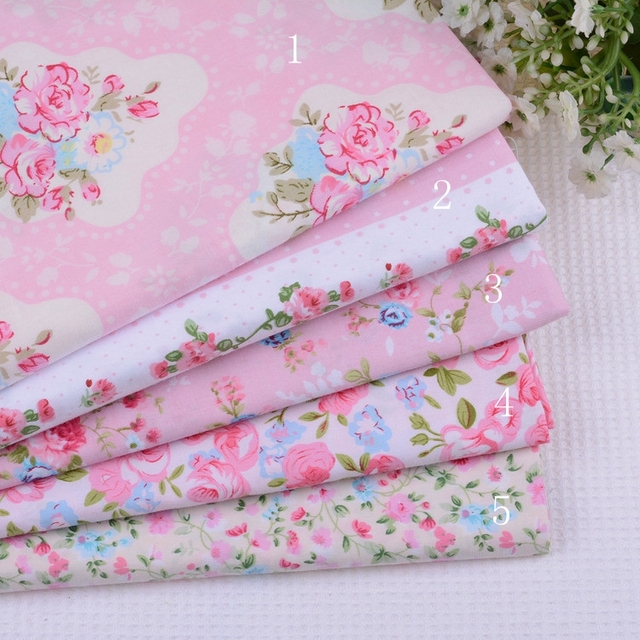 1 meter Shabby Chic Pink Floral 100% Cotton Patchwork Fabric Sewing Tilda Doll Cloth for Quilting Crafts 160*100cm