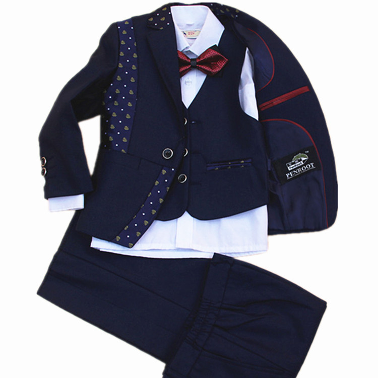 Children Formal Suit Jacket Wedding boys Dress Suit 4 Pieces set high quality jacket vest pants