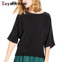 REAL SILK Women T SHIRT Bat Sleeved O Neck Top Shirt 100 Natural Silk Casual Top