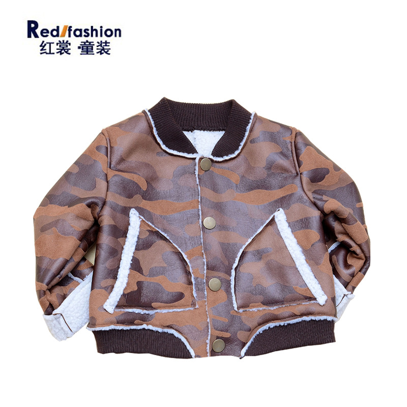 ФОТО HOT Korean printing fur coat collar thread child camouflage pattern children jacket Brown warm winner jacket free shipping