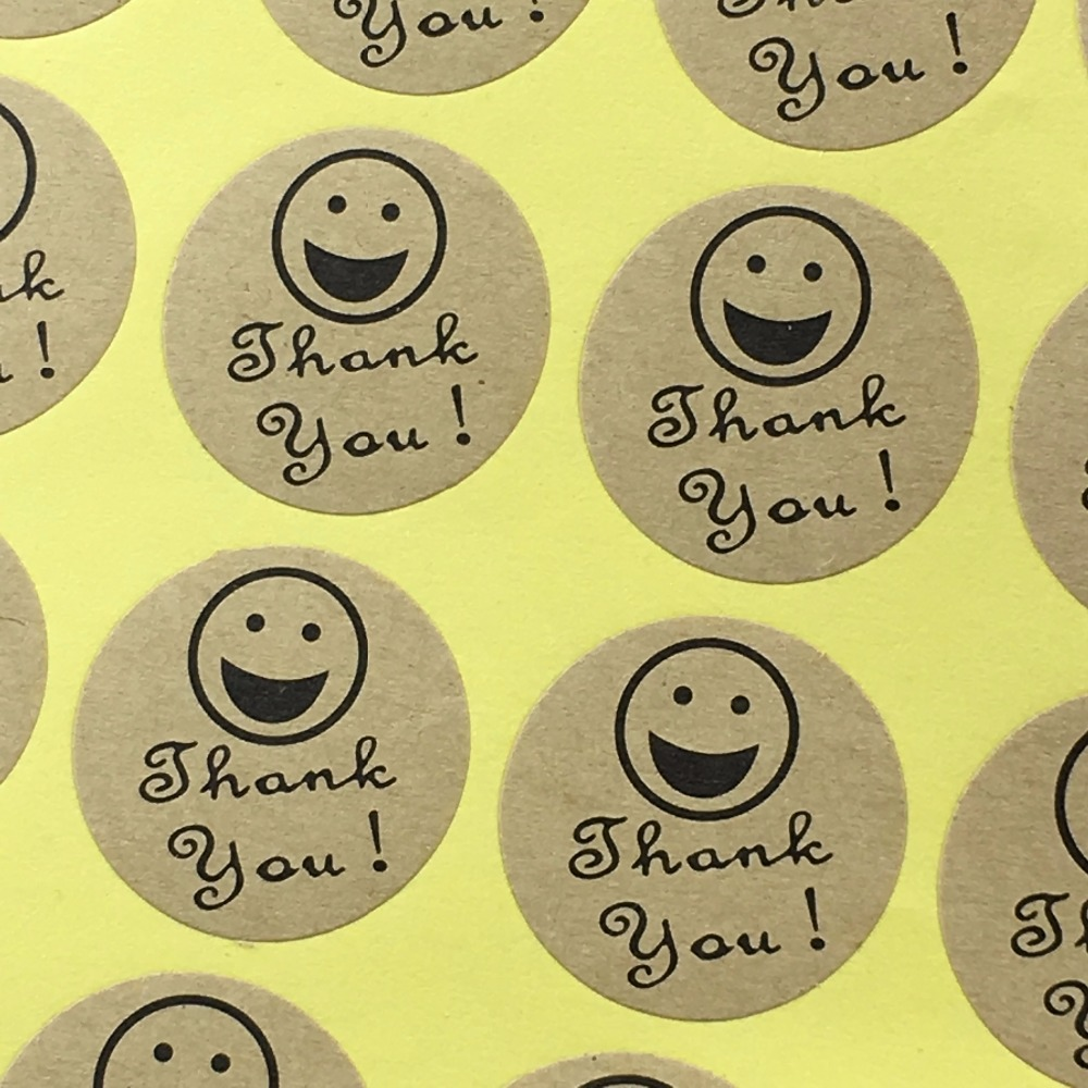 Thank you kraft paper sticker labels 5000pc lot smiling face lovely pattern label adhesive stickers for box gift cup car tips in party diy decorations from