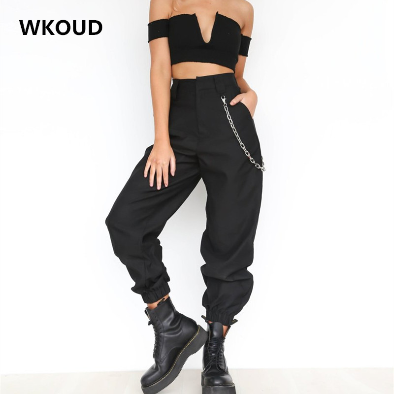 WKOUD High Waist Chain Harem Pants For Women Chi Loose Solid Casual Trousers Sportswear Summer Thin Bottoms Female Pants P8344