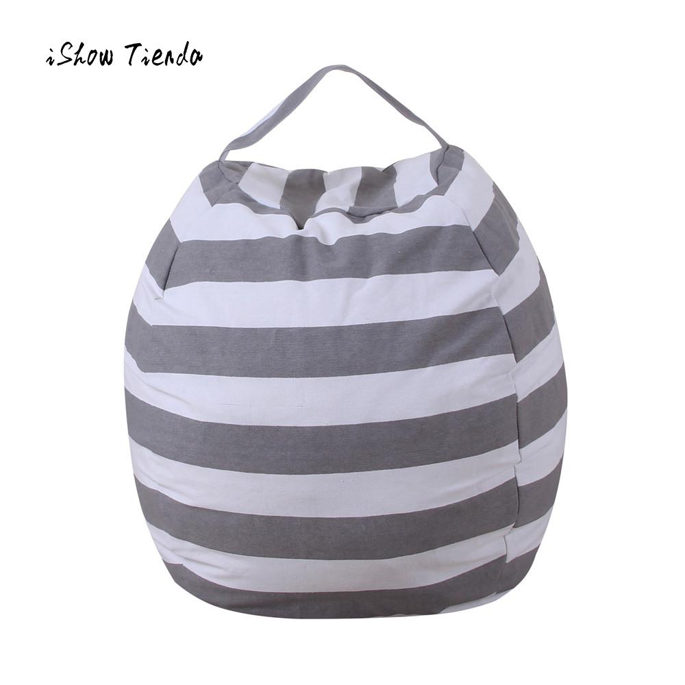 home fashion storage bag kids stuffed animal plush toy storage bean bag soft pouch stripe fabric. Black Bedroom Furniture Sets. Home Design Ideas