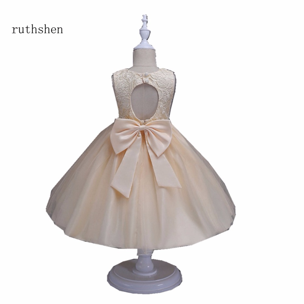 ruthshen Lovely Real Photo Princess Baby   Flower     Girls     Dresses   For Weddings With Lace Bow Kids Ankle Length Ball Gowns Pageant
