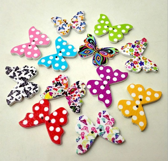 Geinne 50pcs DIY handmade accessories Cartoon Print Dot Butterfly buttons decorative wood buttons 21mm*28mm