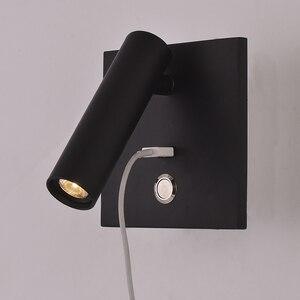 Image 1 - ZEROUNO LED קיר אור עם מתג שינה מקורה תאורת קיר ליד מיטת מנורת לילה USB LED קריאת 3W LED קיר פמוט luminaria