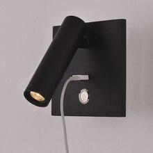ZEROUNO Luz LED de pared con interruptor iluminación interior para dormitorio, lámpara de pared para cabecera, USB, LED nocturna, lectura, aplique de pared, luminaria LED de 3W