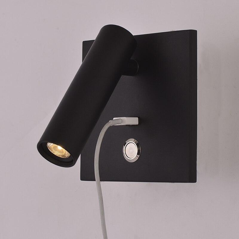 ZEROUNO светодиодный настенный светильник с переключателем, комнатный светильник для спальни, настенный светильник с прикроватной тумбочкой, USB, ночной светодиодный светильник для чтения, 3 Вт, светодиодный настенный светильник|Комнатные настенные LED -лампы|   | АлиЭкспресс