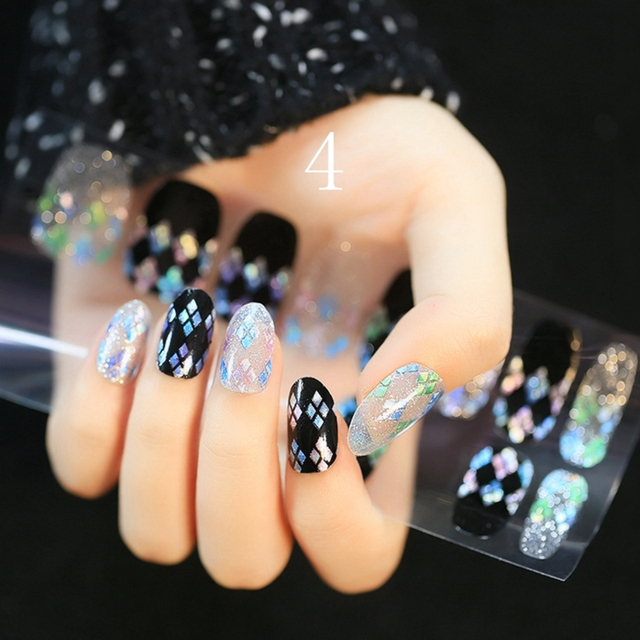 Clear Black Nail Stickers Spirit Rhombic Sequins Pattern Nail ...