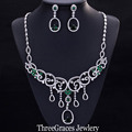 Luxury Nigerian Bridal White Gold Plated Dangling Earrings Necklace Wedding Costume Jewelry Sets With Green Zirconia Stone JS153