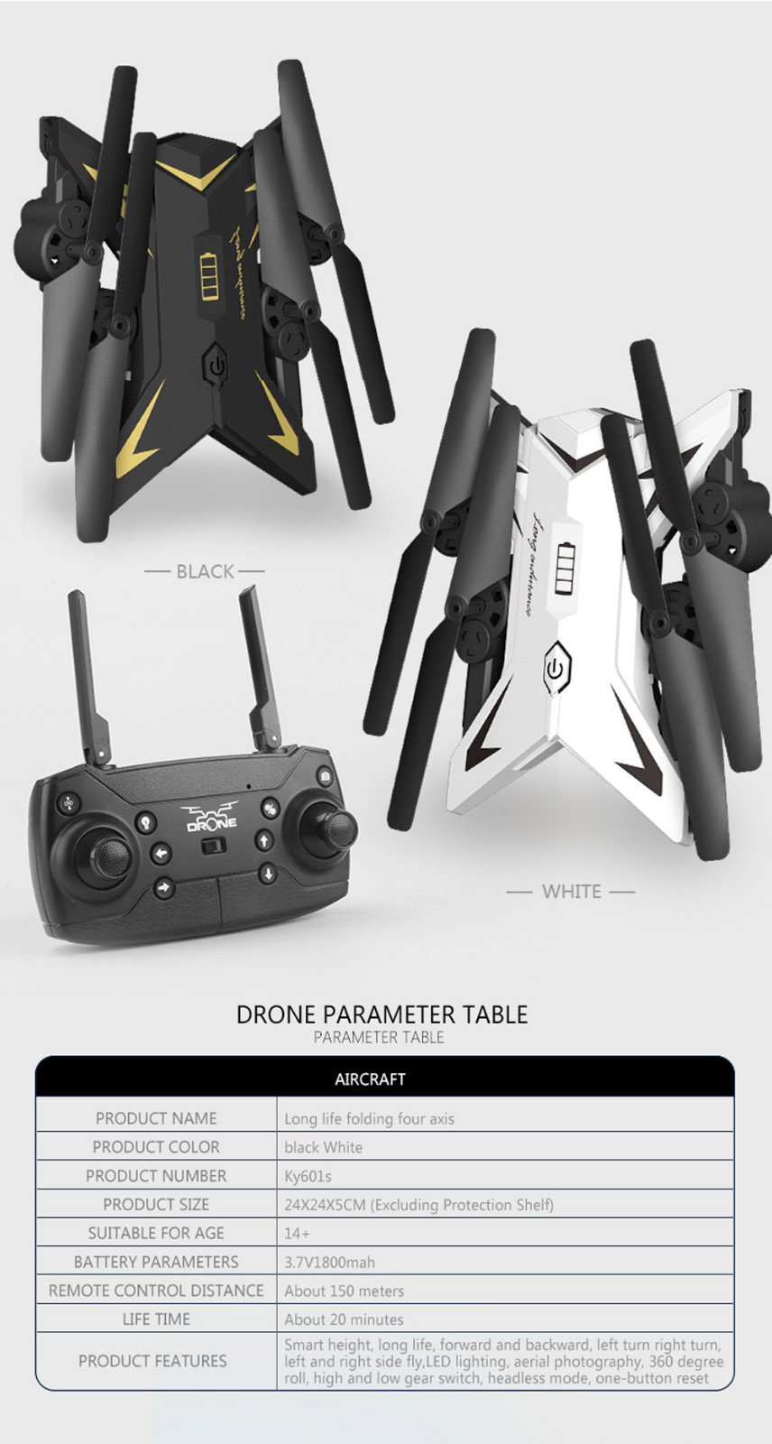 601S 1080P 5MP Quadcopter With Camera Foldable WIFI FPV Drone 20Min Flying 6-axis 4CH RC Helicopter Selfie Drones With Camera HD 33