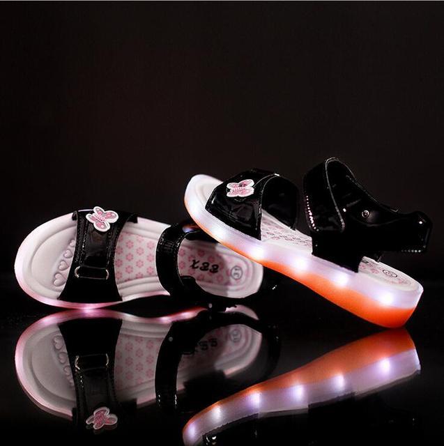 New 2016 European fashion USB recharged summer baby sandals princess cute  girls clogs hot sales fashion 3fc9ef43d4a3