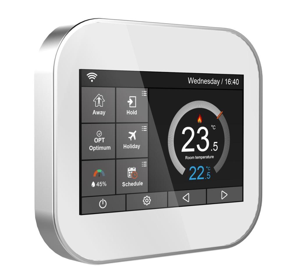 Wifi tela de toque da cor termostato para aquecimento de água/caldeira com Inglês // Polonês/Checo/Italiano/Espanha por telefone android IOS