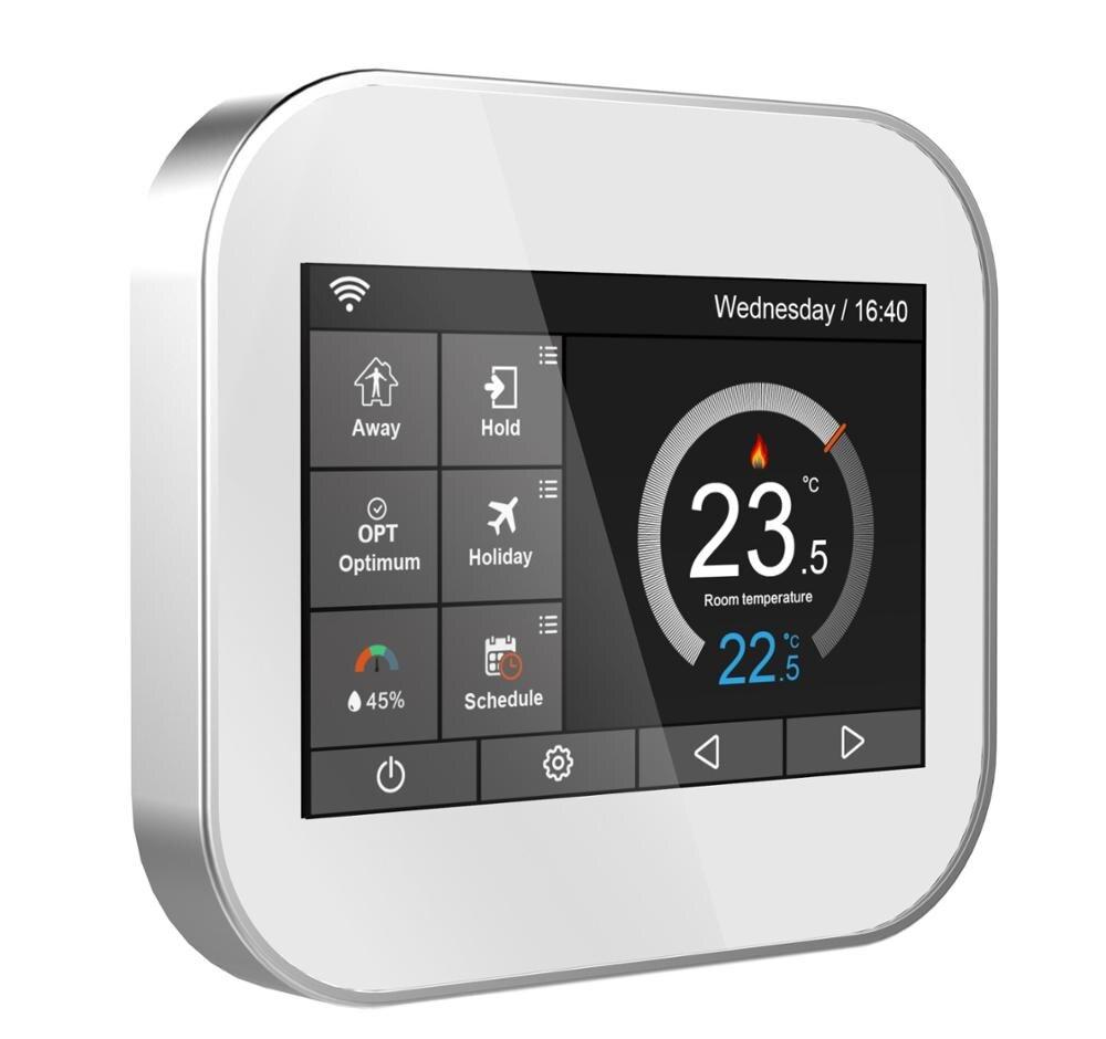 Termostato de pantalla táctil de color Wifi para calefacción de agua/caldera con inglés/polaco/checo/italiano/España por teléfono android IOS