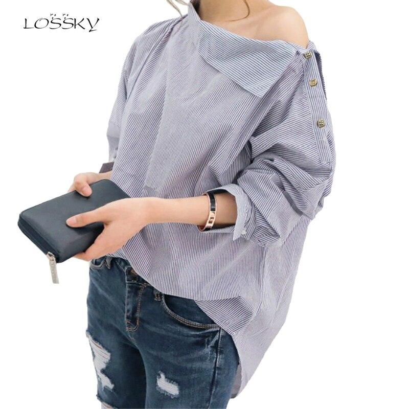 Frauen Gestreiften Blusen Sexy Langarm Shirts Off Schulter Top Bluse 2018 Herbst Shirt Weibliche Mode Frauen Tops Und Blusen