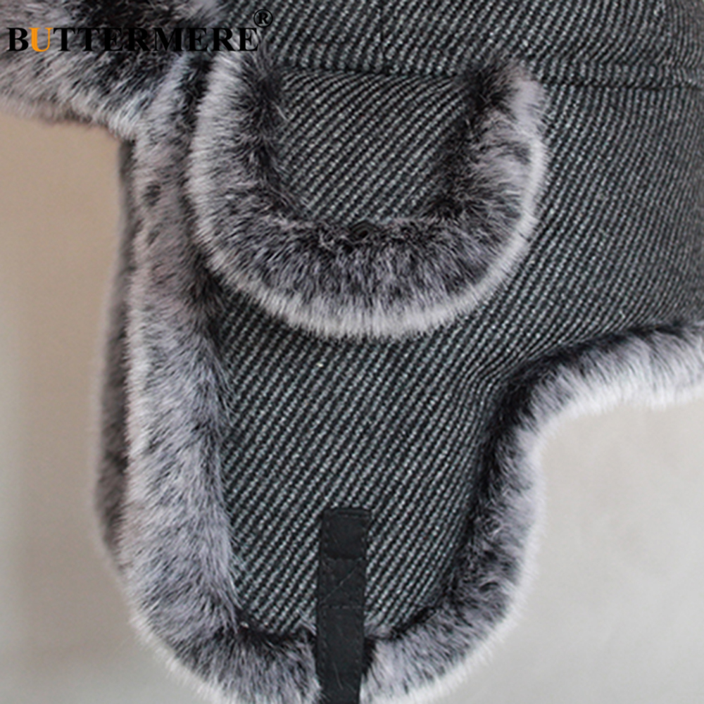 BUTTERMERE Striped Bomber Hats for Men Wool Knitted Fur Caps Women Dark Grey Winter Warm Russian Soft Pilot Hat with Earflap in Men 39 s Bomber Hats from Apparel Accessories