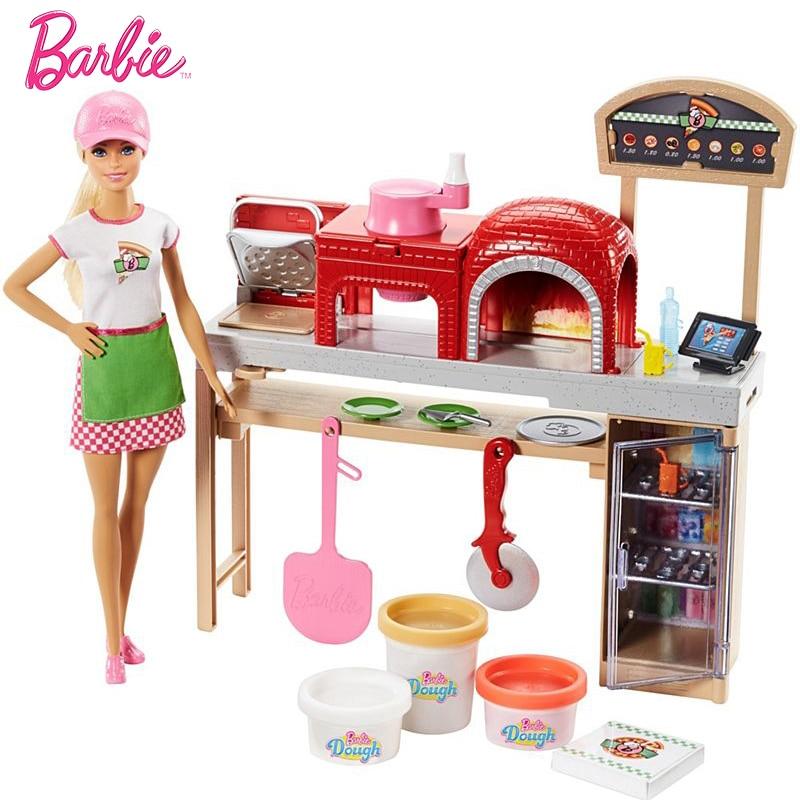 Original Brand Barbie Dolls Pizza Making Fun  dolls The Girlbrinquedos Girl Toys Gift Boneca FHR09