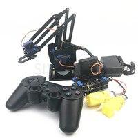 4 DOF дистанционный пульт PS2 Роботизированная рука алюминиевый сплав sg90 arduino сборки робота