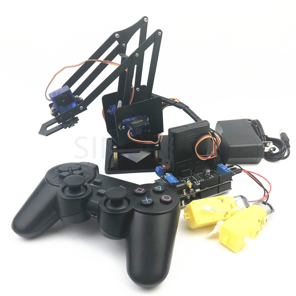 4 DOF remote control PS2 robotic arm aluminum alloy sg90 arduino robot assembly 4 dof cnc aluminum robotic arm frame palletizing robot model 4 asix robot arm 4 servos