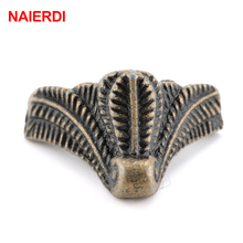4PCS NAIERDI Antique Corner Protector Bronze Jewelry Chest Box Wooden Case Decorative Feet Leg Metal Corner Bracket Hardware 46mmx30mm classical cabinet four sides feet corners antique bronze furniture wooden box metal feet protection decor