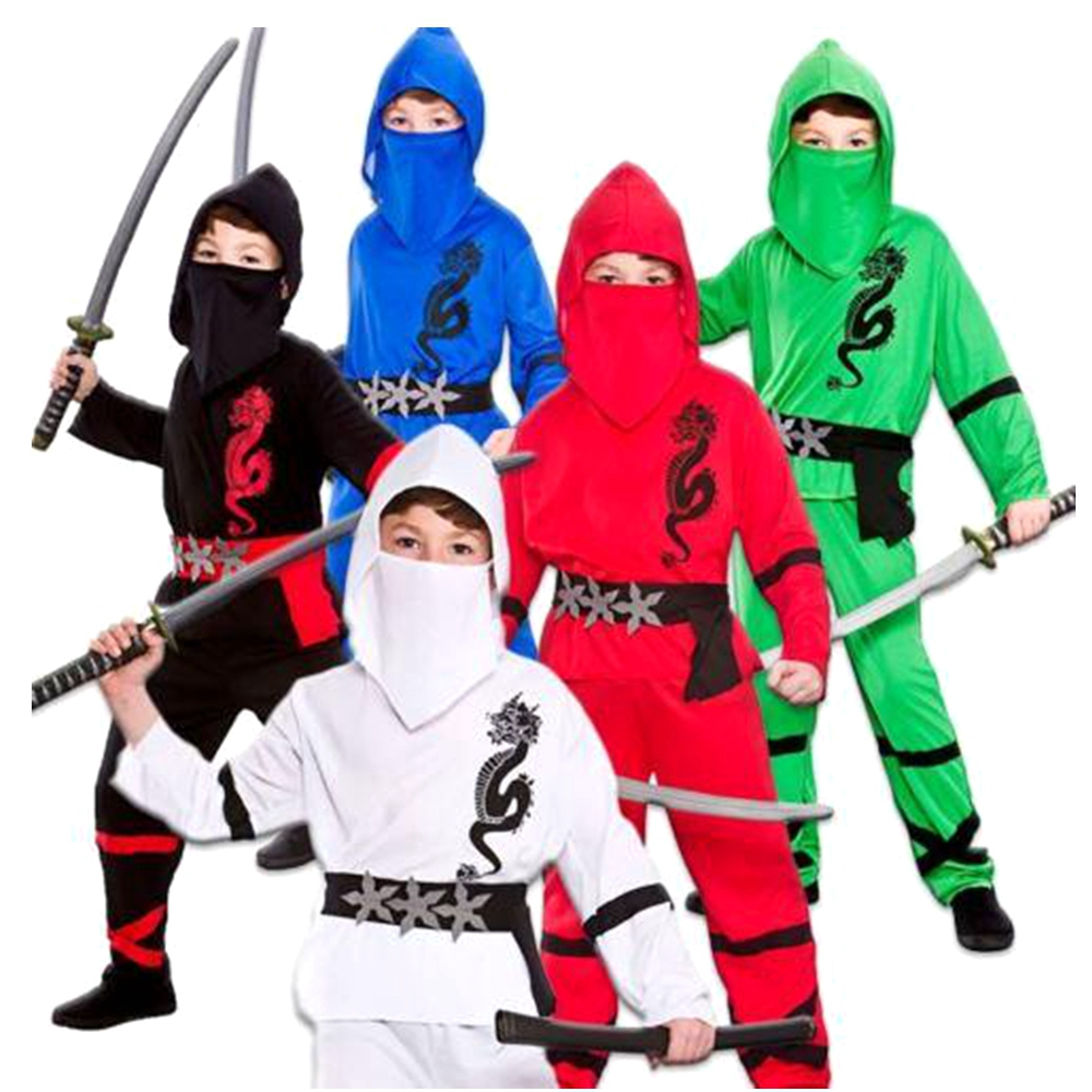 Ninjago Cosplay Costume Boys Power Red Black Blue White Ninja Jampanese Samurai Warrior Child Kids Fancy Dress Outfit Age 3-13 Y