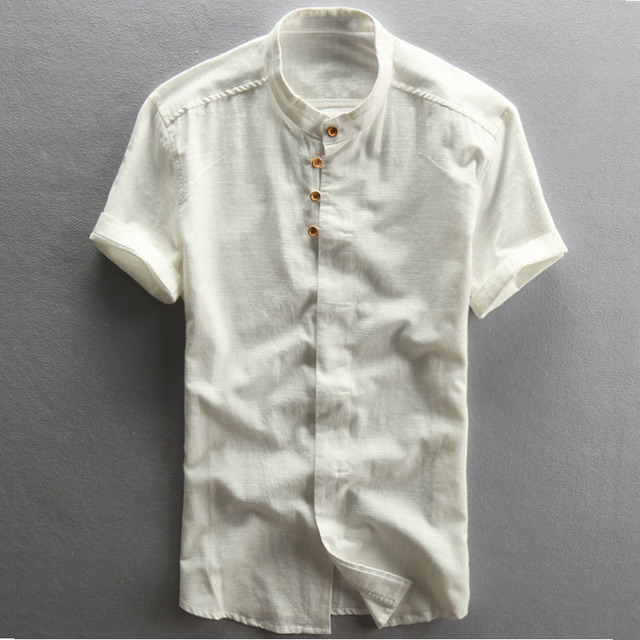 db254e4aac32 SMARTSUGAR White Men Shirts Mandarin Collar Short Sleeve Summer Cotton  Linen Chinese Style Solid Blue Thin Casual Shirt Homme