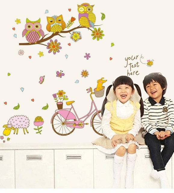 Happy candy color owl tree bicycle wall stickers dog sheep bike happy candy color owl tree bicycle wall stickers dog sheep bike vinyl wallpapers decal kids girls voltagebd Gallery