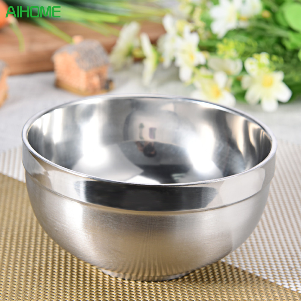 Bowls Dinnerware 304# Stainless Steel Bowl Double-layer Heatproof Bowl Heat Insulation Tableware Good Quality