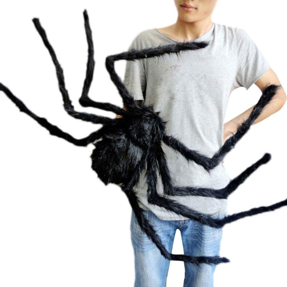 Super big plush spider made of wire and plush black and multicolour style for party or halloween decorations 1Pcs 30cm,50cm,75cm(China)