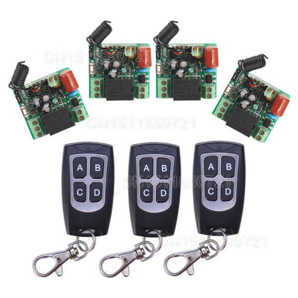 New AK-RK01S-220J 220V 1CH 10A RF Wireless Remote Switch System Receiver With Learning Button 3pcs Transmitter new restaurant equipment wireless buzzer calling system 25pcs table bell with 4 waiter pager receiver