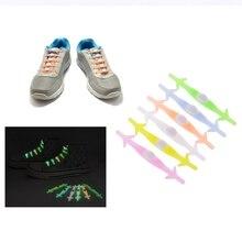 EYKOSY 12Pcs Women Men Silicone Shoe Laces Elastic Luminous Running No Tie Sneakers Shoelaces 6 Color Lazy Shoelaces New Fashion